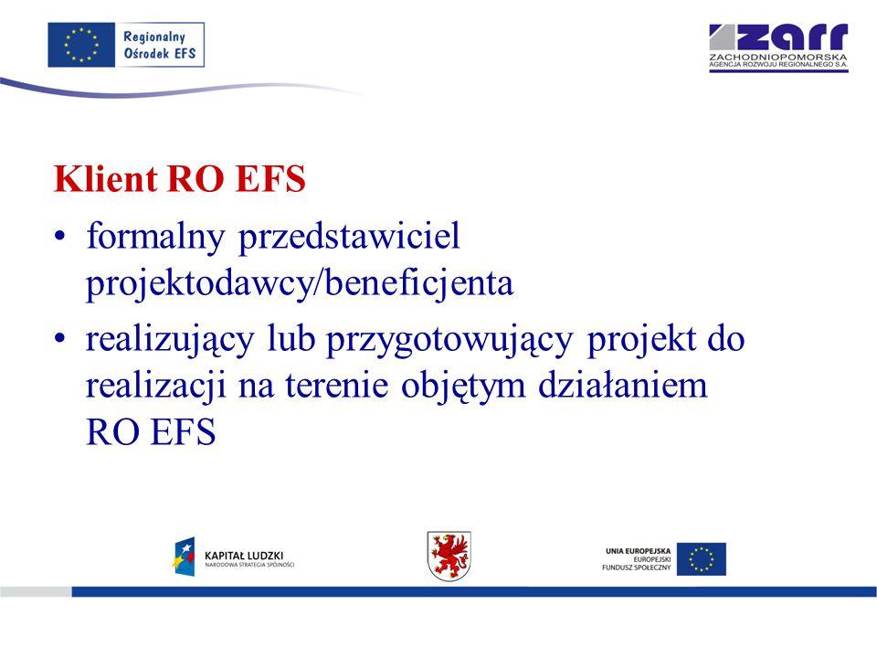 Klient RO EFS formalny przedstawiciel projektodawcy/beneficjenta realizujący lub przygotowujący projekt do realizacji na terenie objętym działaniem RO EFS