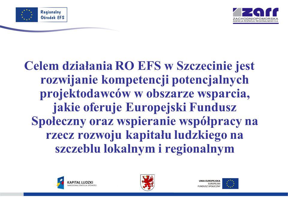 Celem działania RO EFS w Szczecinie jest rozwijanie kompetencji potencjalnych projektodawców w obszarze wsparcia, jakie oferuje Europejski Fundusz Społeczny oraz wspieranie współpracy na rzecz rozwoju kapitału ludzkiego na szczeblu lokalnym i regionalnym