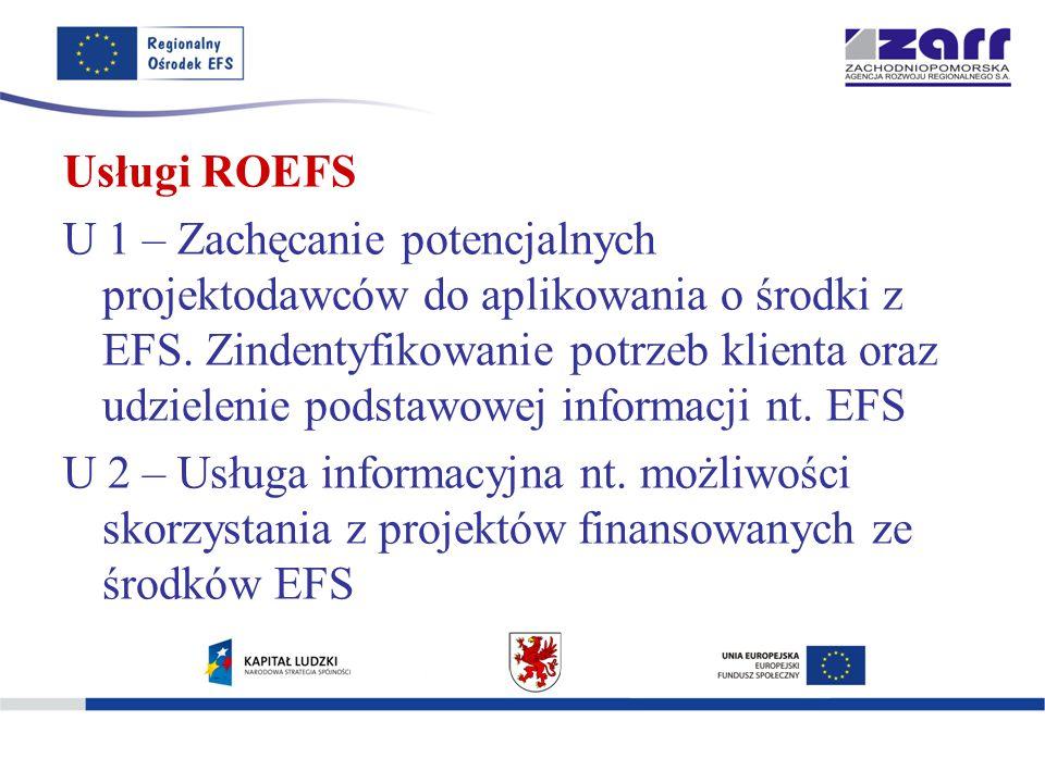 Usługi ROEFS U 1 – Zachęcanie potencjalnych projektodawców do aplikowania o środki z EFS.