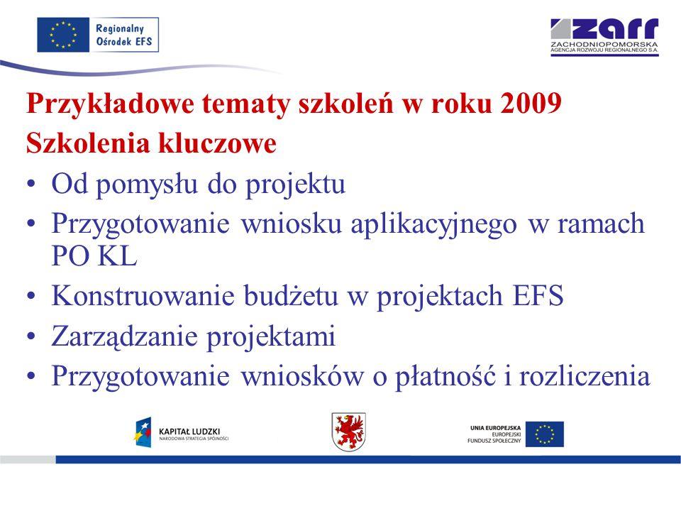 Przykładowe tematy szkoleń w roku 2009 Szkolenia kluczowe Od pomysłu do projektu Przygotowanie wniosku aplikacyjnego w ramach PO KL Konstruowanie budżetu w projektach EFS Zarządzanie projektami Przygotowanie wniosków o płatność i rozliczenia