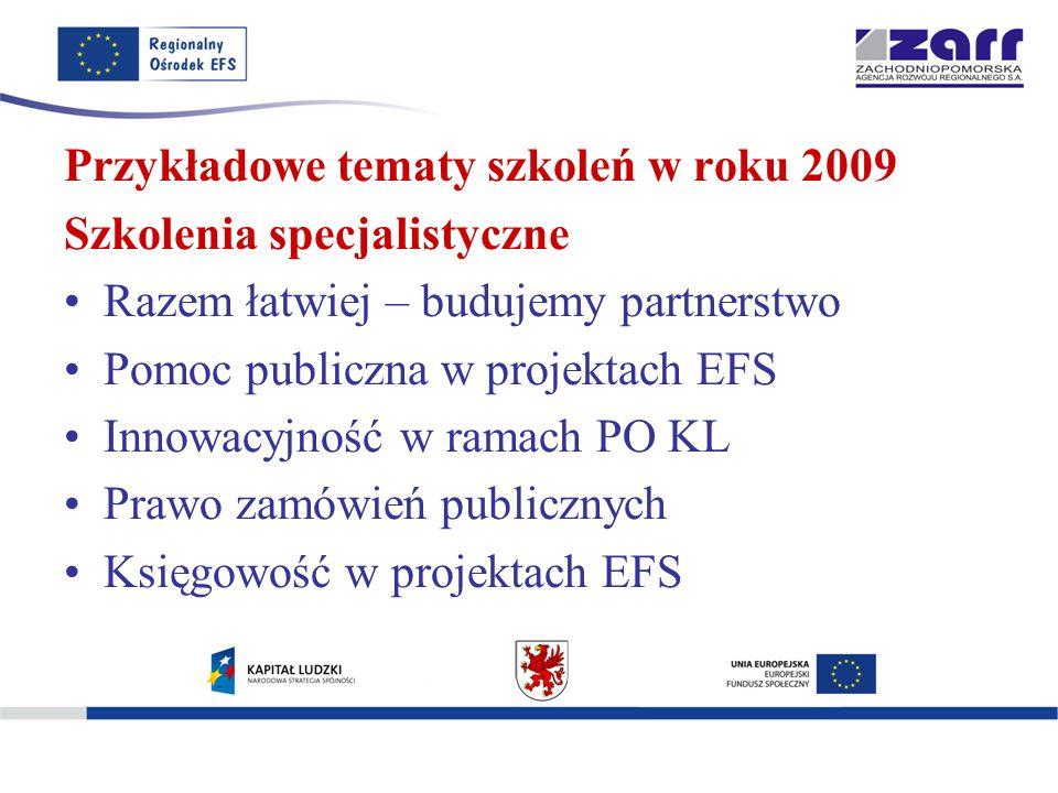 Przykładowe tematy szkoleń w roku 2009 Szkolenia specjalistyczne Razem łatwiej – budujemy partnerstwo Pomoc publiczna w projektach EFS Innowacyjność w ramach PO KL Prawo zamówień publicznych Księgowość w projektach EFS