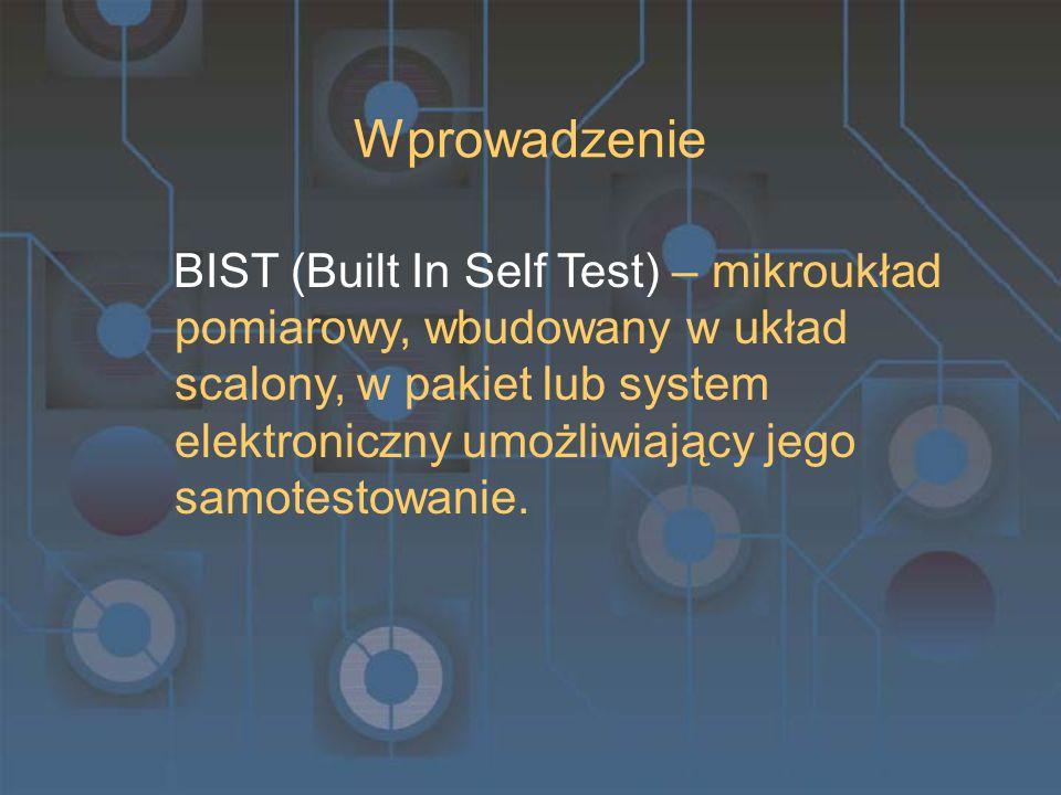 Wprowadzenie BIST (Built In Self Test) – mikroukład pomiarowy, wbudowany w układ scalony, w pakiet lub system elektroniczny umożliwiający jego samotestowanie.