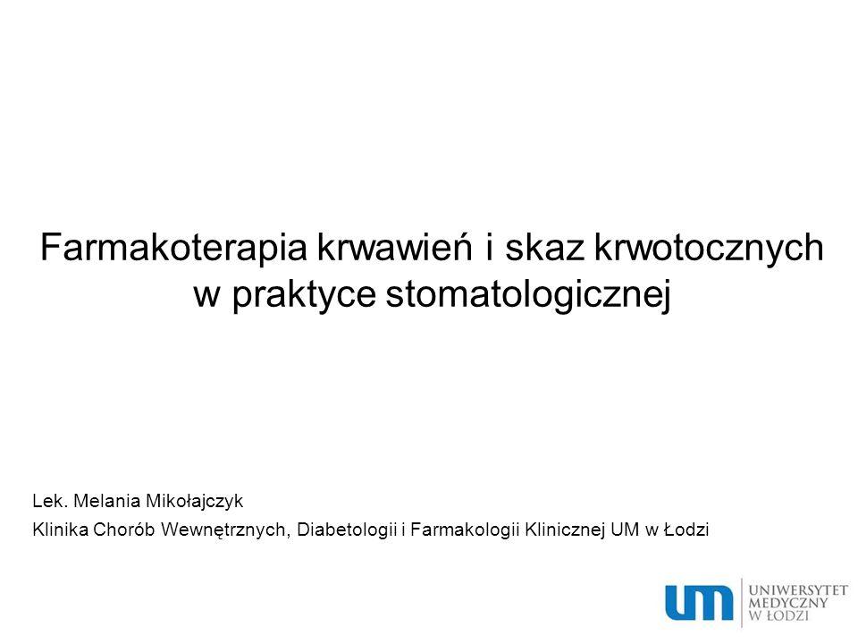 Przykłady preparatów antagonistów wit.K: Acenokumarol,, T½ ~8h Warfaryna T½~33h