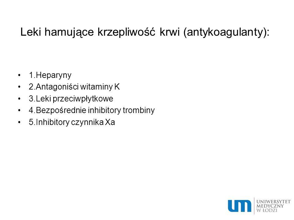 Leki hamujące krzepliwość krwi (antykoagulanty): 1.Heparyny 2.Antagoniści witaminy K 3.Leki przeciwpłytkowe 4.Bezpośrednie inhibitory trombiny 5.Inhibitory czynnika Xa