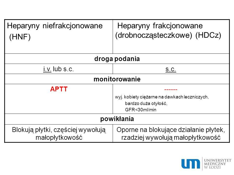 Heparyny niefrakcjonowane (HNF) Heparyny frakcjonowane (drobnocząsteczkowe) (HDCz) droga podania i.v.