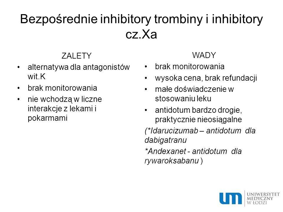 Bezpośrednie inhibitory trombiny i inhibitory cz.Xa ZALETY alternatywa dla antagonistów wit.K brak monitorowania nie wchodzą w liczne interakcje z lekami i pokarmami WADY brak monitorowania wysoka cena, brak refundacji małe doświadczenie w stosowaniu leku antidotum bardzo drogie, praktycznie nieosiągalne (*Idarucizumab – antidotum dla dabigatranu *Andexanet - antidotum dla rywaroksabanu )