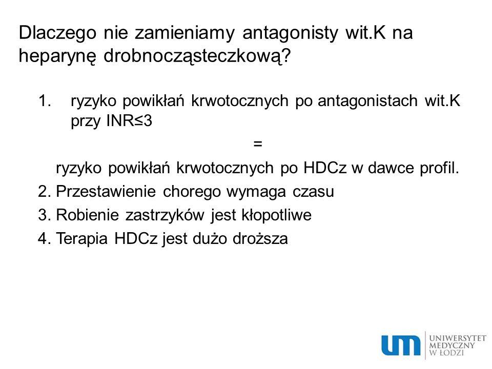 Dlaczego nie zamieniamy antagonisty wit.K na heparynę drobnocząsteczkową.