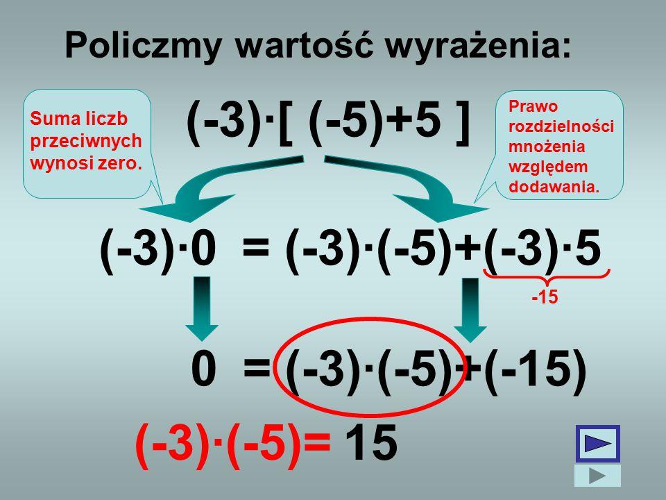Policzmy wartość wyrażenia: (-3)·[ (-5)+5 ] (-3)·0(-3)·(-5)+(-3)·5 0 (-3)·(-5)+(-15) Suma liczb przeciwnych wynosi zero. Prawo rozdzielności mnożenia