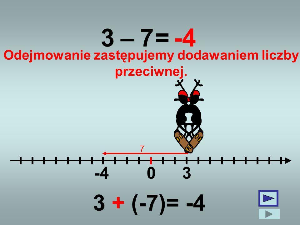 3 0 –7=-4 3 7 Odejmowanie zastępujemy dodawaniem liczby przeciwnej. 3 + (-7)= -4
