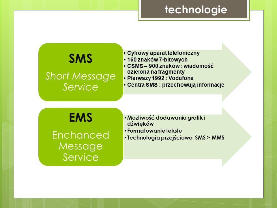 technologie Cyfrowy aparat telefoniczny 160 znaków 7-bitowych CSMS – 900 znaków : wiadomość dzielona na fragmenty Pierwszy 1992 : Vodafone Centra SMS : przechowują informacje SMS Short Message Service Możliwość dodawania grafik i dźwięków Formatowanie tekstu Technologia przejściowa SMS > MMS EMS Enchanced Message Service