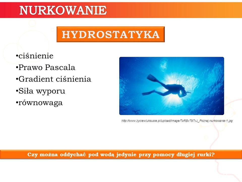 6 ciśnienie Prawo Pascala Gradient ciśnienia Siła wyporu równowaga Czy można oddychać pod wodą jedynie przy pomocy długiej rurki.