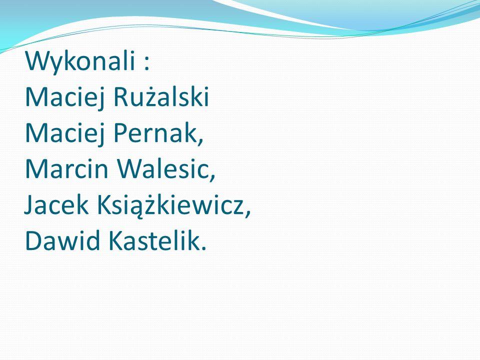 Wykonali : Maciej Rużalski Maciej Pernak, Marcin Walesic, Jacek Książkiewicz, Dawid Kastelik.