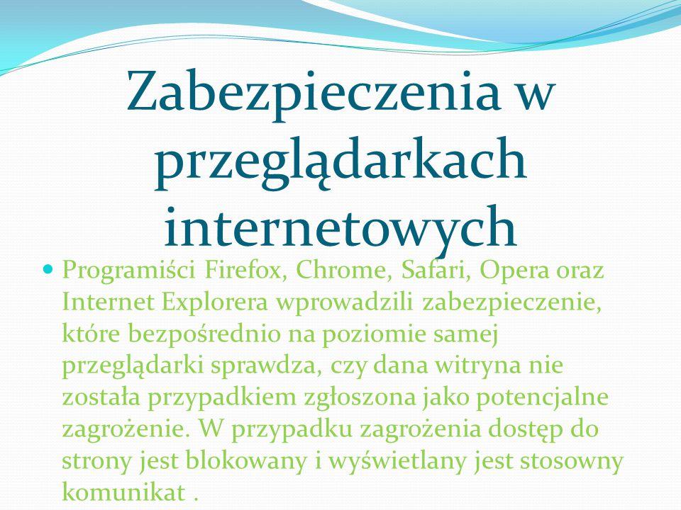Zabezpieczenia w przeglądarkach internetowych Programiści Firefox, Chrome, Safari, Opera oraz Internet Explorera wprowadzili zabezpieczenie, które bez