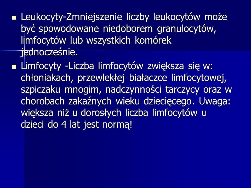 Leukocyty-Zmniejszenie liczby leukocytów może być spowodowane niedoborem granulocytów, limfocytów lub wszystkich komórek jednocześnie. Limfocyty -Licz