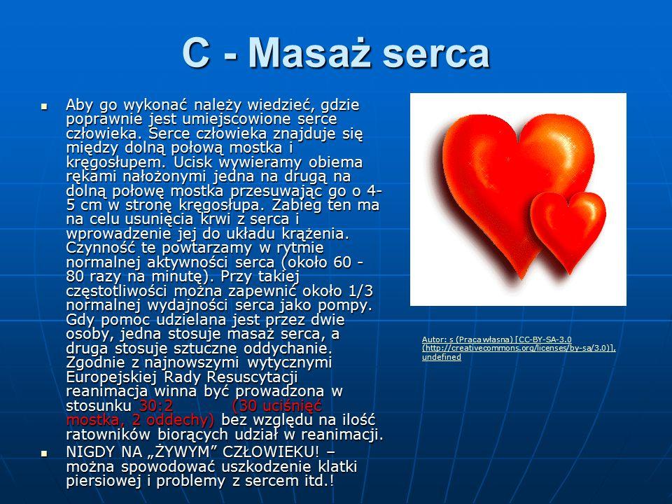 C - Masaż serca Aby go wykonać należy wiedzieć, gdzie poprawnie jest umiejscowione serce człowieka. Serce człowieka znajduje się między dolną połową m