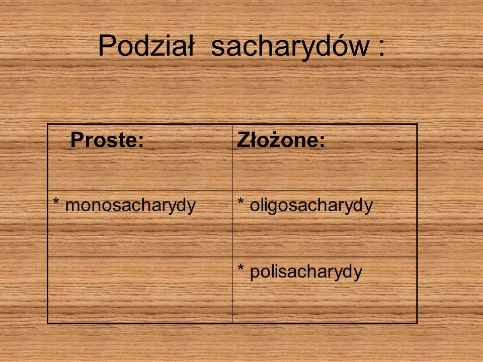 Podział sacharydów : Proste:Złożone: * monosacharydy* oligosacharydy * polisacharydy