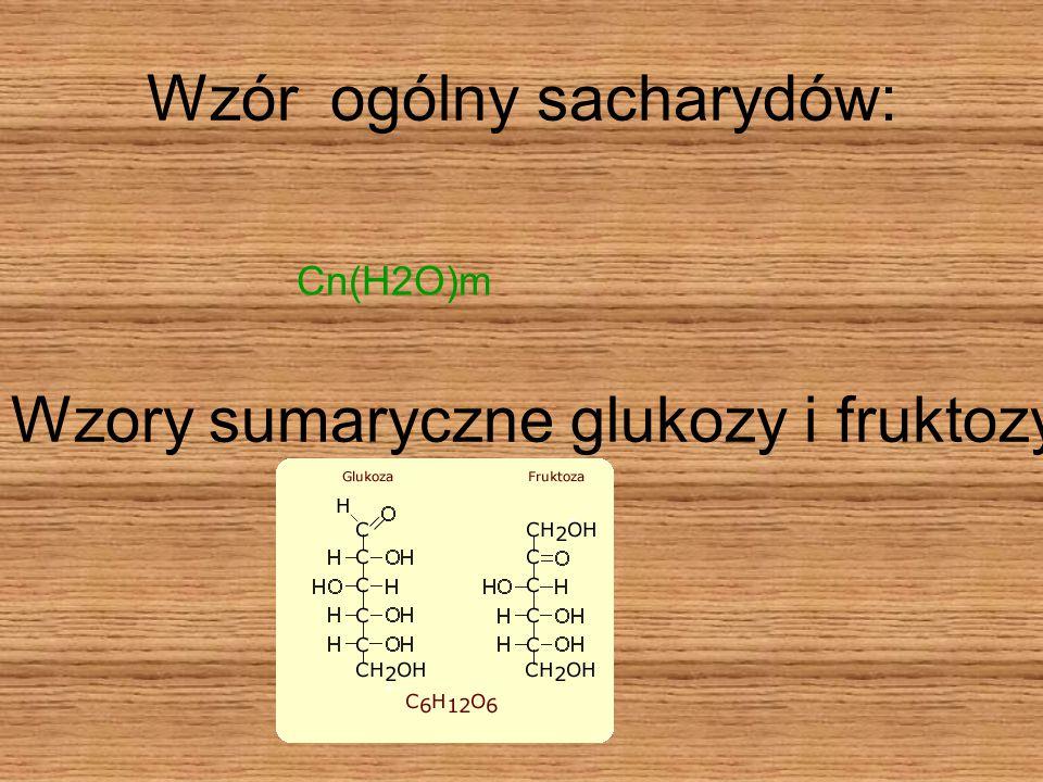 Wzór ogólny sacharydów: Cn(H2O)m Wzory sumaryczne glukozy i fruktozy: