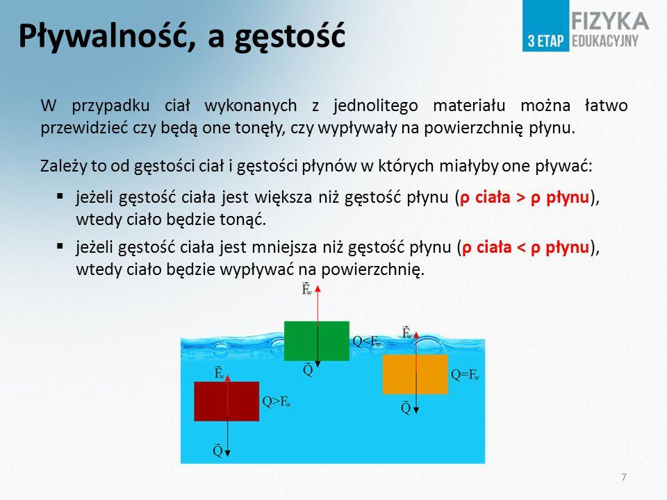 Pływalność, a gęstość W przypadku ciał wykonanych z jednolitego materiału można łatwo przewidzieć czy będą one tonęły, czy wypływały na powierzchnię p