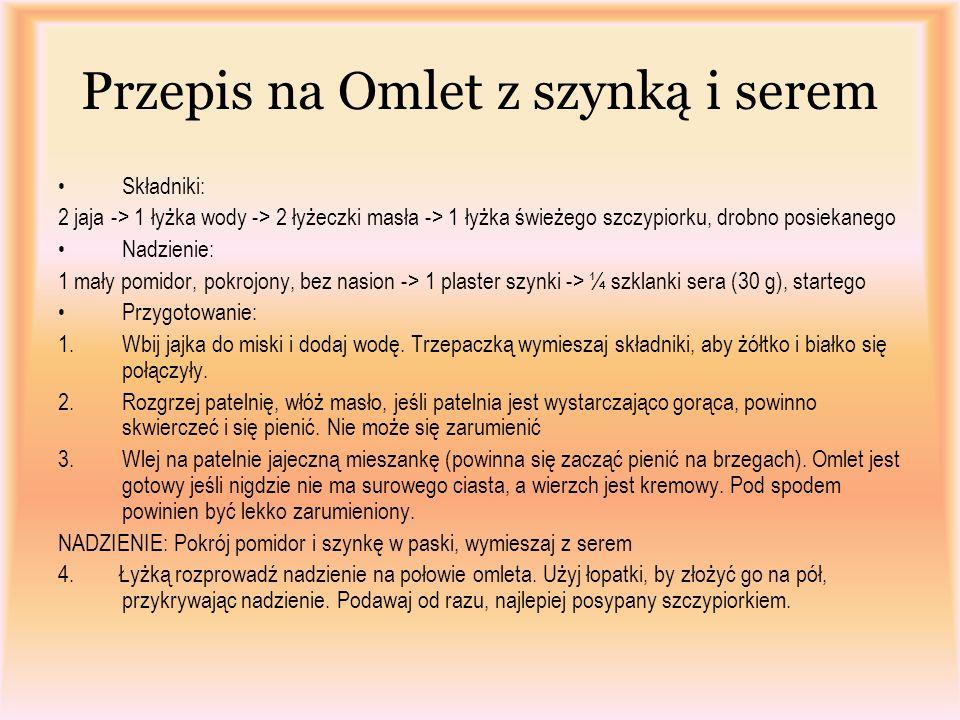 Przepis na Omlet z szynką i serem Składniki: 2 jaja -> 1 łyżka wody -> 2 łyżeczki masła -> 1 łyżka świeżego szczypiorku, drobno posiekanego Nadzienie:
