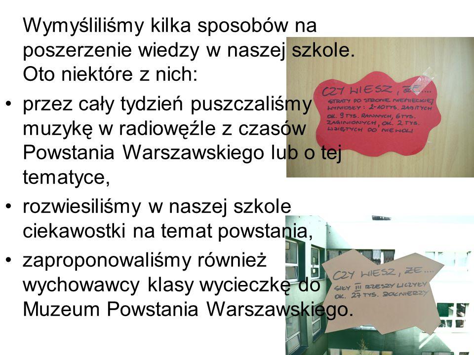 Wykonawcy projektu: Łukasz Kęcki – przeprowadzanie ankiet Alicja Mirowska – opracowanie pomysłów poszerzania wiedzy, dobranie muzyki, rozwieszanie ciekawostek Krzysztof Mokrzycki – prezentacja, rozwieszanie ciekawostek Alicja Sieczko – opracowanie ankiety, dopracowanie prezentacji, muzyka Jan Trembczyk – przeprowadzanie ankiet, przygotowanie ciekawostek