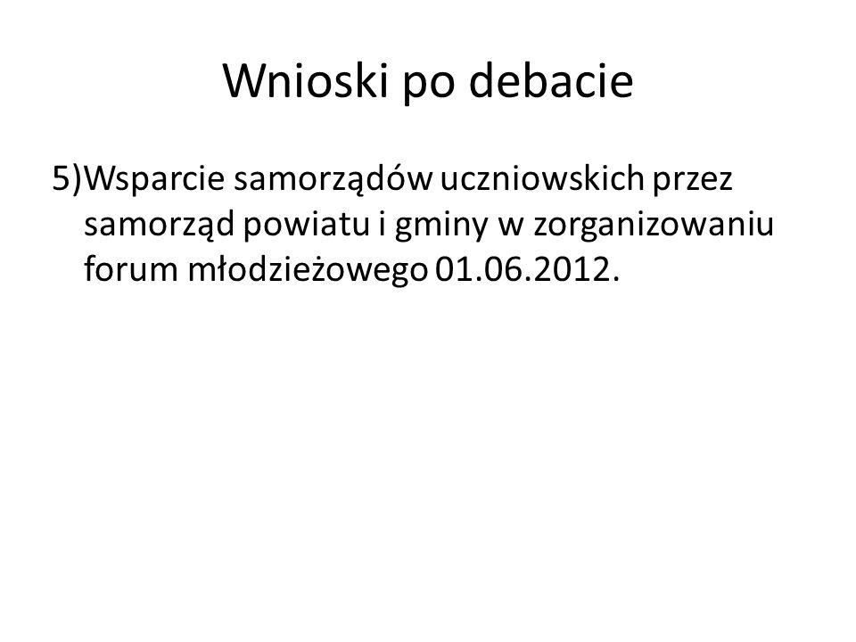 Wnioski po debacie 5)Wsparcie samorządów uczniowskich przez samorząd powiatu i gminy w zorganizowaniu forum młodzieżowego 01.06.2012.