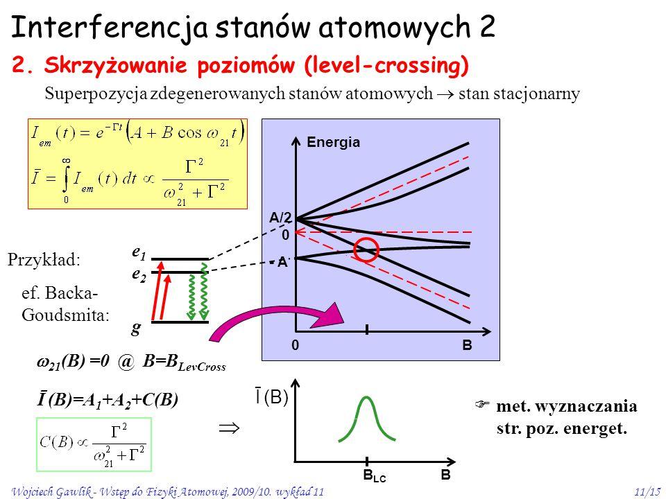 Wojciech Gawlik - Wstęp do Fizyki Atomowej, 2009/10. wykład 1111/15 Interferencja stanów atomowych 2 2. Skrzyżowanie poziomów (level-crossing) Superpo