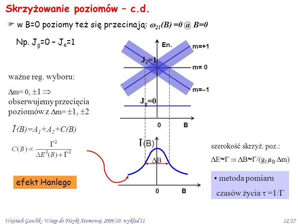 Wojciech Gawlik - Wstęp do Fizyki Atomowej, 2009/10. wykład 1112/15 Skrzyżowanie poziomów – c.d.  w B=0 poziomy też się przecinają:  21 (B) =0 @ B=0