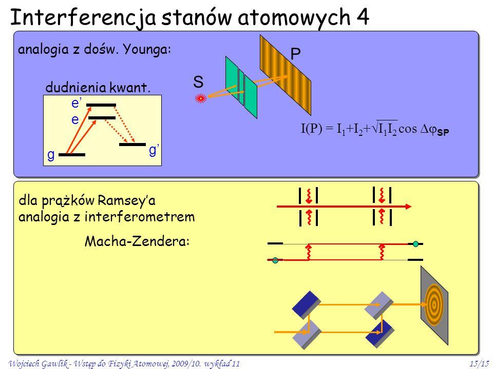 Wojciech Gawlik - Wstęp do Fizyki Atomowej, 2009/10. wykład 1115/15 Interferencja stanów atomowych 4 analogia z dośw. Younga: S P I(P) = I 1 +I 2 + 