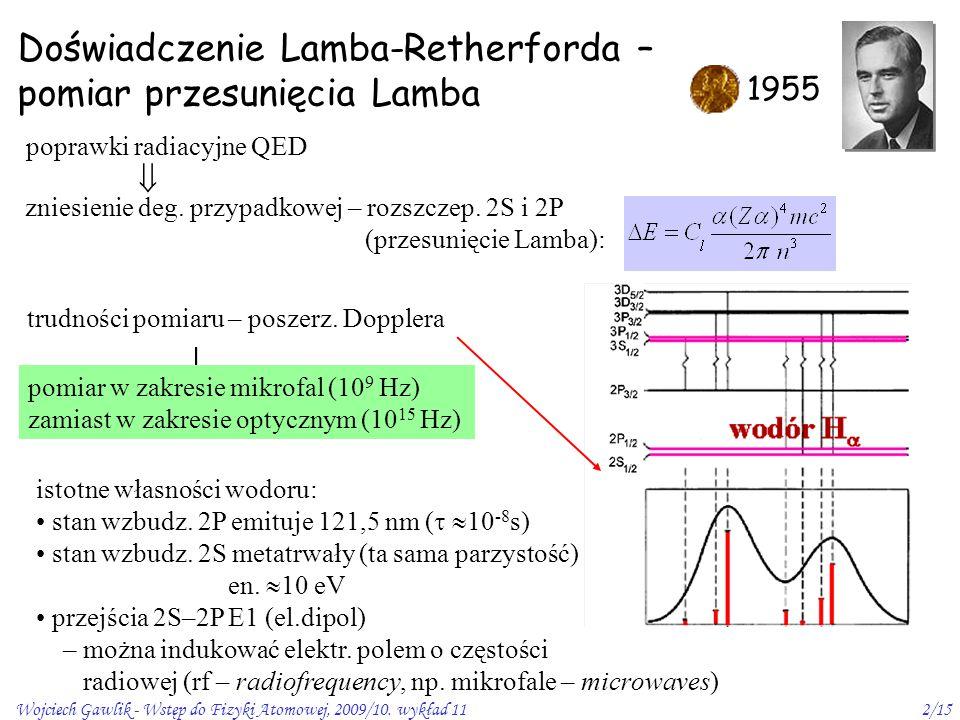 Wojciech Gawlik - Wstęp do Fizyki Atomowej, 2009/10. wykład 112/15 Doświadczenie Lamba-Retherforda – pomiar przesunięcia Lamba 1955  pomiar w zakresi