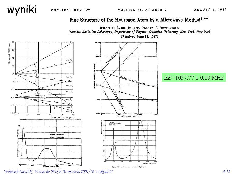 Wojciech Gawlik - Wstęp do Fizyki Atomowej, 2009/10. wykład 114/15 wyniki  E=1057,77  0,10 MHz