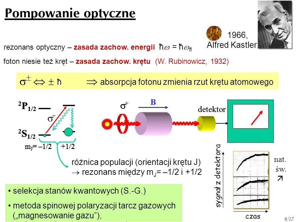 Wojciech Gawlik - Wstęp do Fizyki Atomowej, 2009/10. wykład 116/15 Pompowanie optyczne 1966, Alfred Kastler rezonans optyczny – zasada zachow. energii