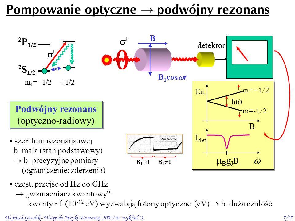 Wojciech Gawlik - Wstęp do Fizyki Atomowej, 2009/10. wykład 117/15  B g J B  I det B En. m=+1/2 ħ  m=-1/2 Pompowanie optyczne → podwójny rezonans 2