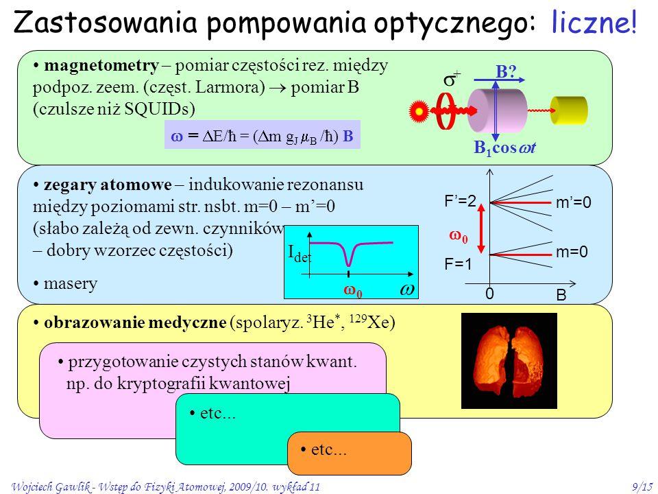 Wojciech Gawlik - Wstęp do Fizyki Atomowej, 2009/10. wykład 119/15 Zastosowania pompowania optycznego: obrazowanie medyczne (spolaryz. 3 He *, 129 Xe)