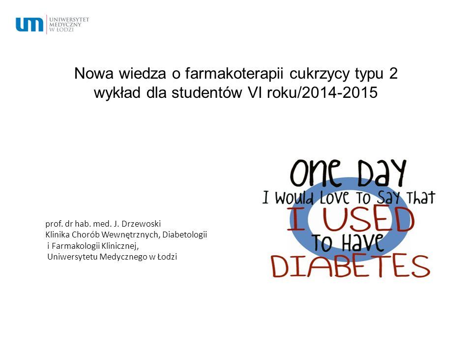 Nowa wiedza o farmakoterapii cukrzycy typu 2 wykład dla studentów VI roku/2014-2015 prof. dr hab. med. J. Drzewoski Klinika Chorób Wewnętrznych, Diabe
