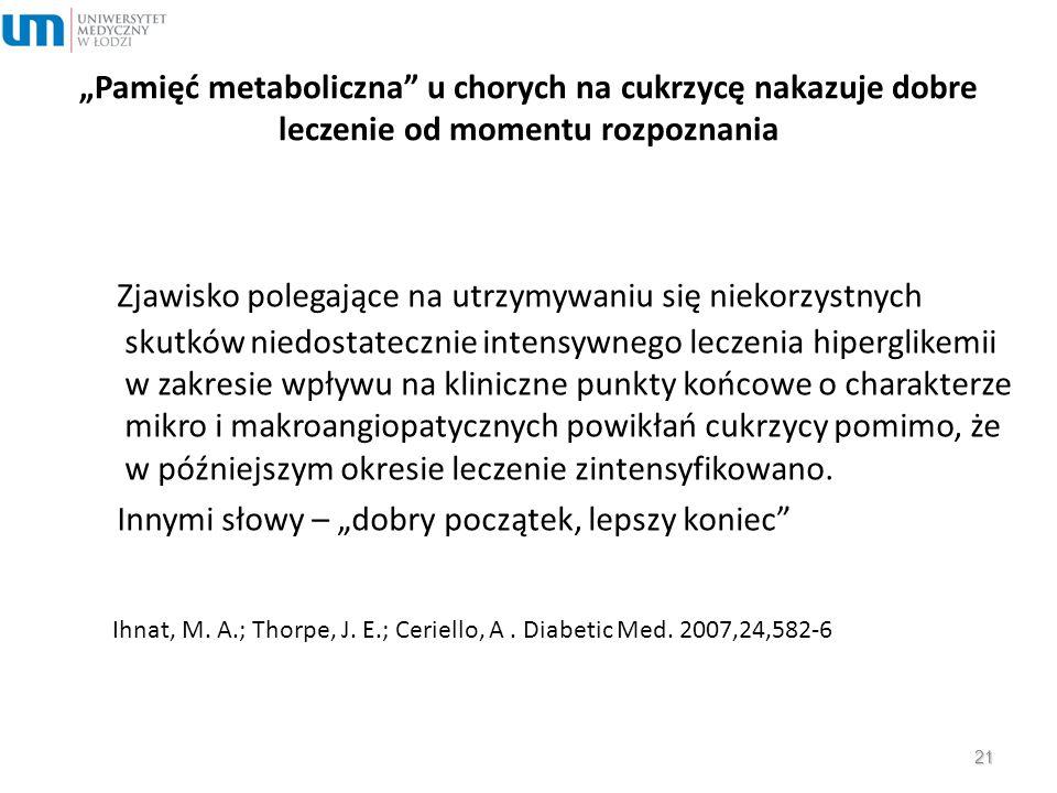 """""""Pamięć metaboliczna"""" u chorych na cukrzycę nakazuje dobre leczenie od momentu rozpoznania Zjawisko polegające na utrzymywaniu się niekorzystnych skut"""