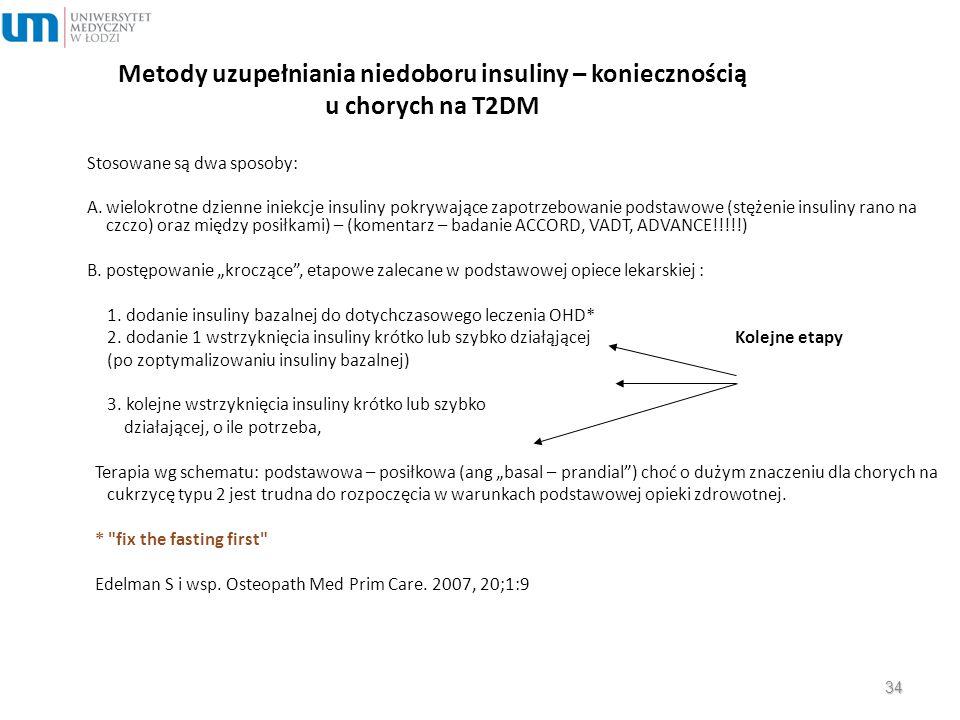 Metody uzupełniania niedoboru insuliny – koniecznością u chorych na T2DM Stosowane są dwa sposoby: A. wielokrotne dzienne iniekcje insuliny pokrywając