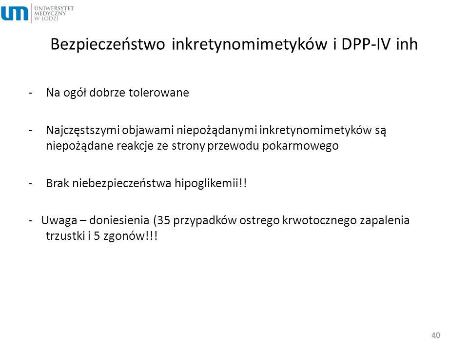Bezpieczeństwo inkretynomimetyków i DPP-IV inh -Na ogół dobrze tolerowane -Najczęstszymi objawami niepożądanymi inkretynomimetyków są niepożądane reak