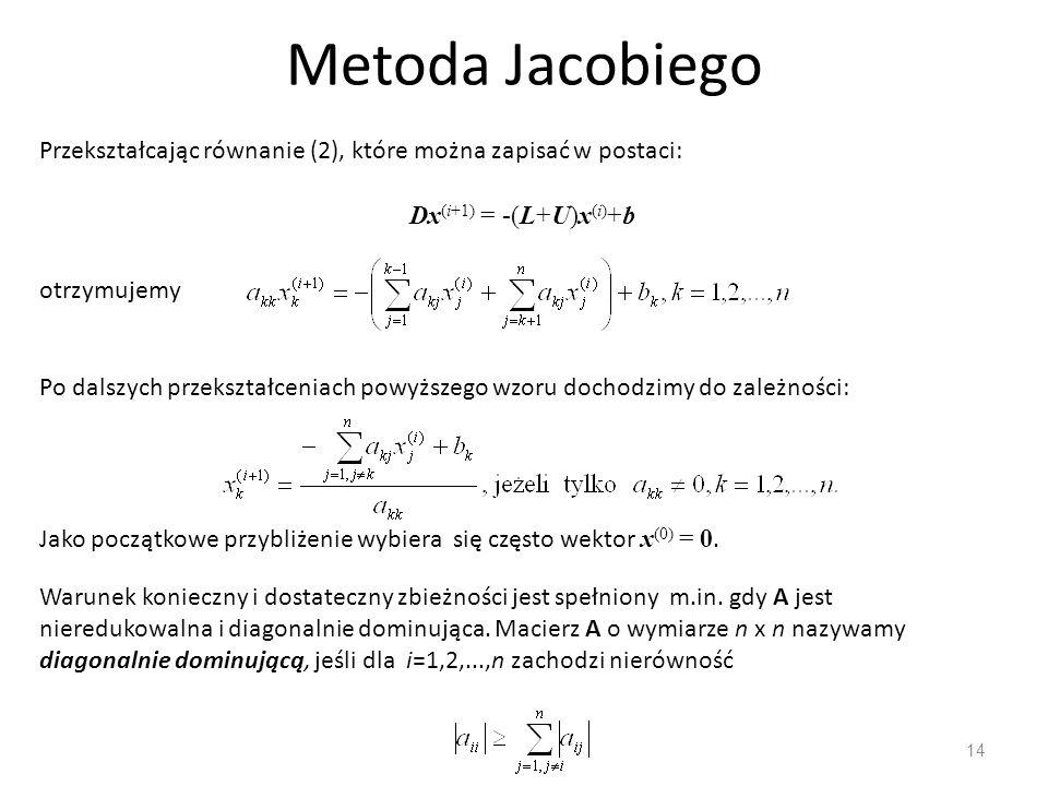 Metoda Jacobiego 14 Przekształcając równanie (2), które można zapisać w postaci: Dx (i+1) = -(L+U)x (i) +b otrzymujemy Po dalszych przekształceniach p