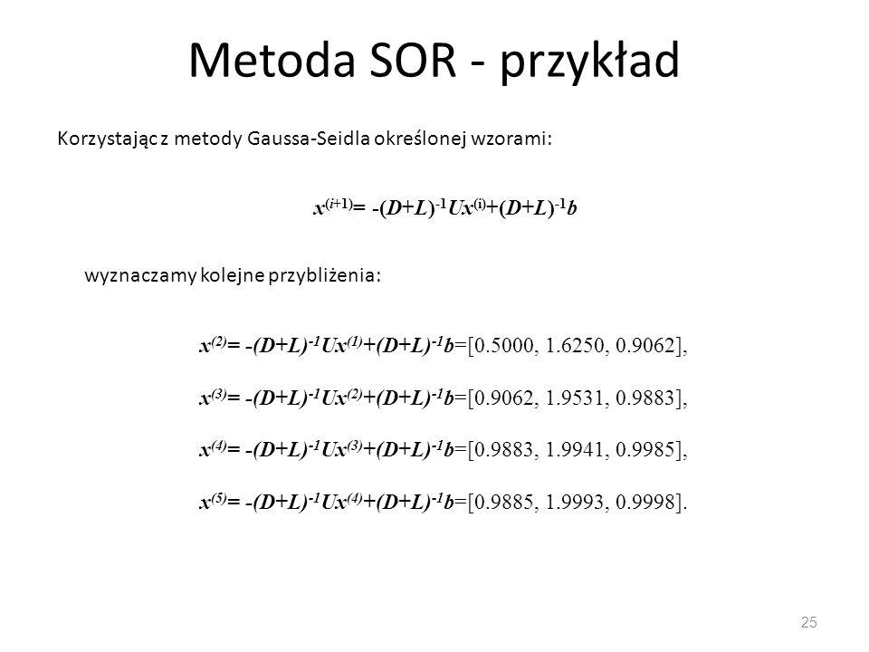 Metoda SOR - przykład 25 Korzystając z metody Gaussa-Seidla określonej wzorami: x (i+1) = -(D+L) -1 Ux (i) +(D+L) -1 b wyznaczamy kolejne przybliżenia