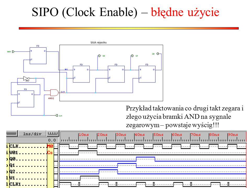 SIPO (Clock Enable) – błędne użycie Przykład taktowania co drugi takt zegara i złego użycia bramki AND na sygnale zegarowym – powstaje wyścig!!!