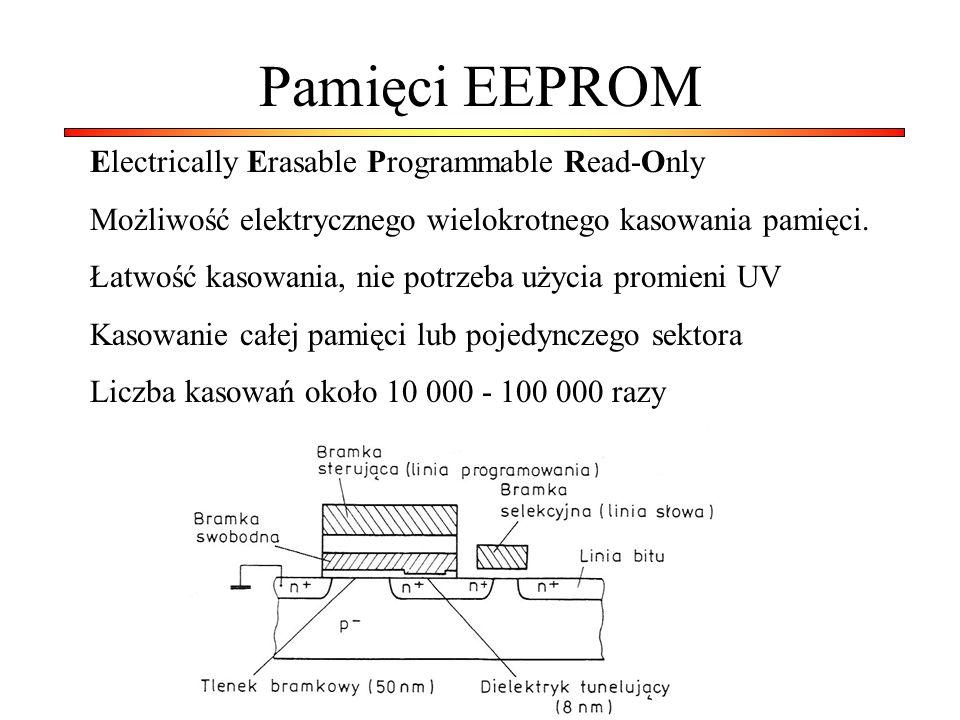 Pamięci EEPROM Electrically Erasable Programmable Read-Only Możliwość elektrycznego wielokrotnego kasowania pamięci. Łatwość kasowania, nie potrzeba u