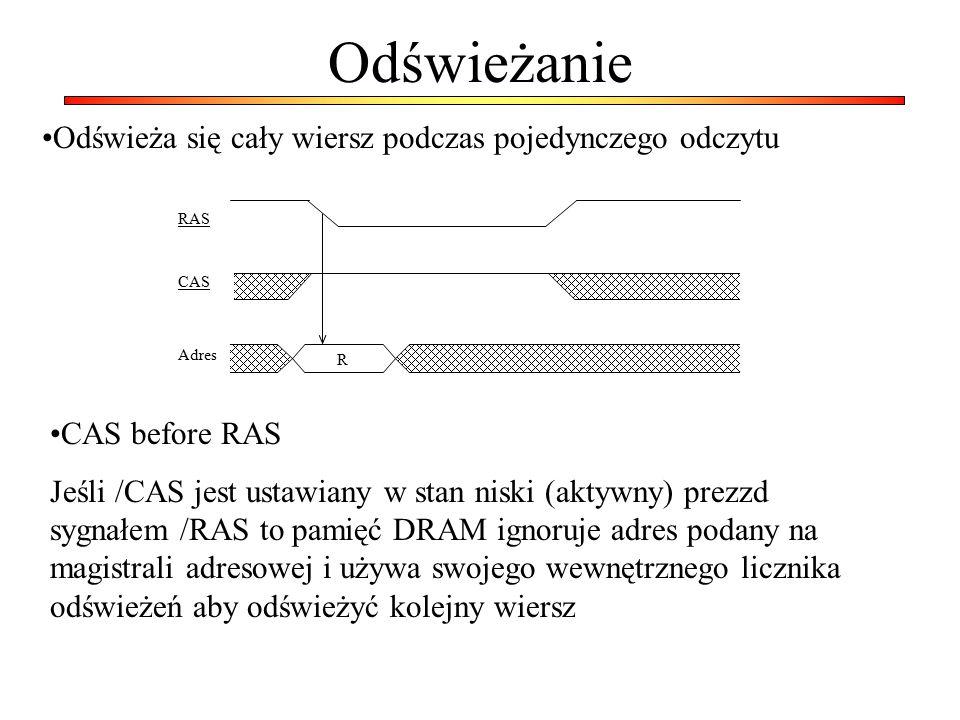 Odświeżanie RAS Adres CAS R Odświeża się cały wiersz podczas pojedynczego odczytu CAS before RAS Jeśli /CAS jest ustawiany w stan niski (aktywny) prez