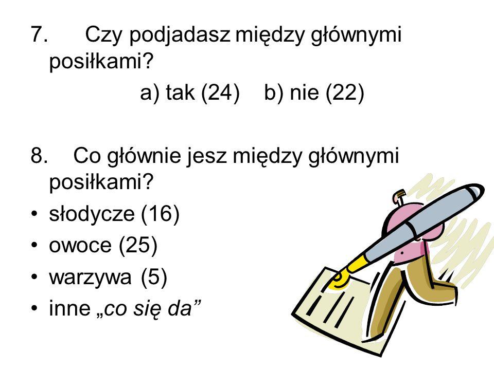 7. Czy podjadasz między głównymi posiłkami? a) tak (24) b) nie (22) 8. Co głównie jesz między głównymi posiłkami? słodycze (16) owoce (25) warzywa (5)