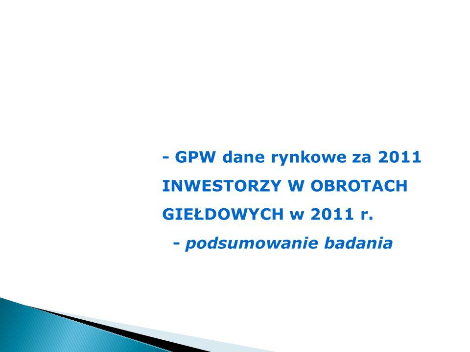 - GPW dane rynkowe za 2011 INWESTORZY W OBROTACH GIEŁDOWYCH w 2011 r. - podsumowanie badania