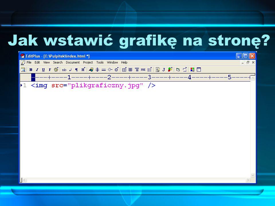 Jak wstawić grafikę na stronę? Aby wstawić grafikę na stronę WWW, w kodzie HTML musimy dodać: