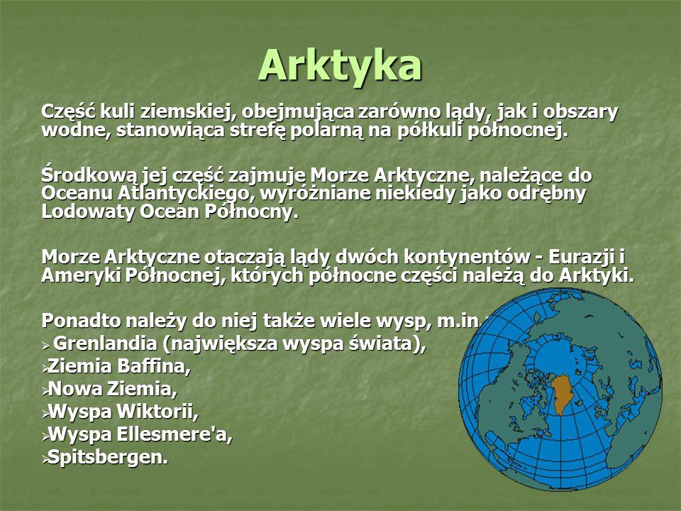 Arktyka Część kuli ziemskiej, obejmująca zarówno lądy, jak i obszary wodne, stanowiąca strefę polarną na półkuli północnej. Środkową jej część zajmuje