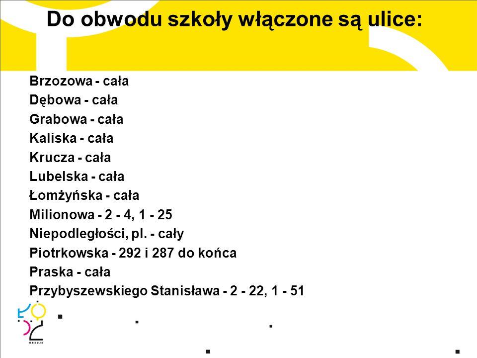Do obwodu szkoły włączone są ulice: Radomska - cała Reymonta Władysława, pl.