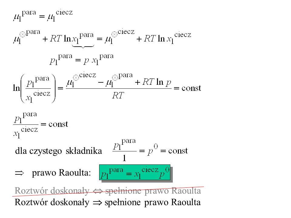 dla czystego składnika prawo Raoulta: Roztwór doskonały  spełnione prawo Raoulta Roztwór doskonały  spełnione prawo Raoulta