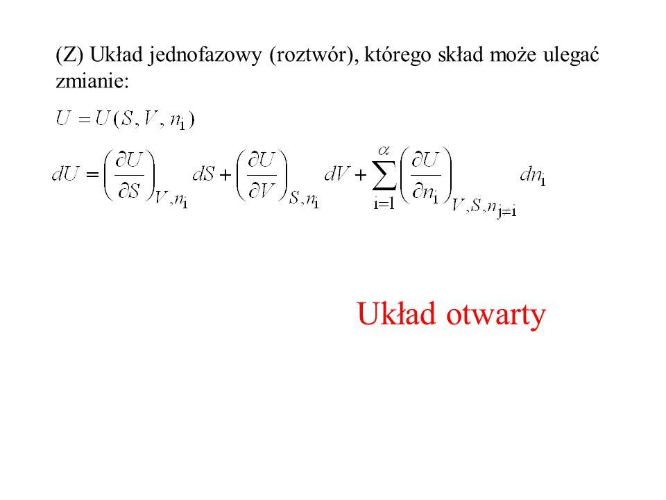 (Z) Układ jednofazowy (roztwór), którego skład może ulegać zmianie: Układ otwarty