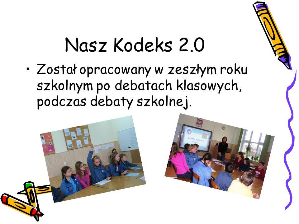 Nasz Kodeks 2.0 Został opracowany w zeszłym roku szkolnym po debatach klasowych, podczas debaty szkolnej.